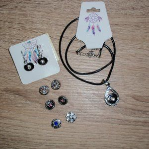 12mm Snap Button Earrings Necklace Snaps Bundle